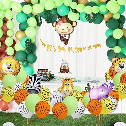 foci cozi 148 Pack Jungle Safari Theme Party Decorations Set?148 latex balloons, 12 Green Palm Leaves, 1 banner 4 cake topper 16 feets Arch Balloon strip tape, 1 Balloon tying tools Safri party Suppli