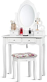 Giantex Vanity Dressing Table with Mirror and Stool, 360° Rotating Oval Makeup Mirror Classic Style Delicate Carved Cushioned Benches Wood Legs, Vanity Tables with Divided Drawers (White)