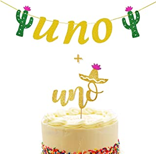 Mity rain UNO High Chair Banner & UNO Cake Topper for First Fiesta Cactus Mexican Tropical Taco 1st Birthday Party Decorations / Cake Smash Party Supplies Baby Shower