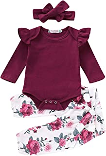 3PCS Infant Toddler Baby Girl Summer Clothes Ruffle Romper Top Bodysuit + Floral Pants + Headband Outfit Set