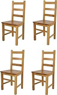 Tommychairs - Juego de 4 sillas rústicas para Cocina, Bar y Comedor, con Estructura sólida y Asiento de Madera de Haya Pintada en Roble
