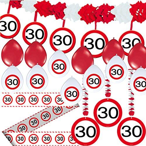 Carpeta 23-TLG. Partyset * 30. Geburtstag * mit Verkehrschild Deko: Girlande + Rotorspiralen + Absperrband und vielen Luftballons Dekoset Dekobox Verkehrsschild