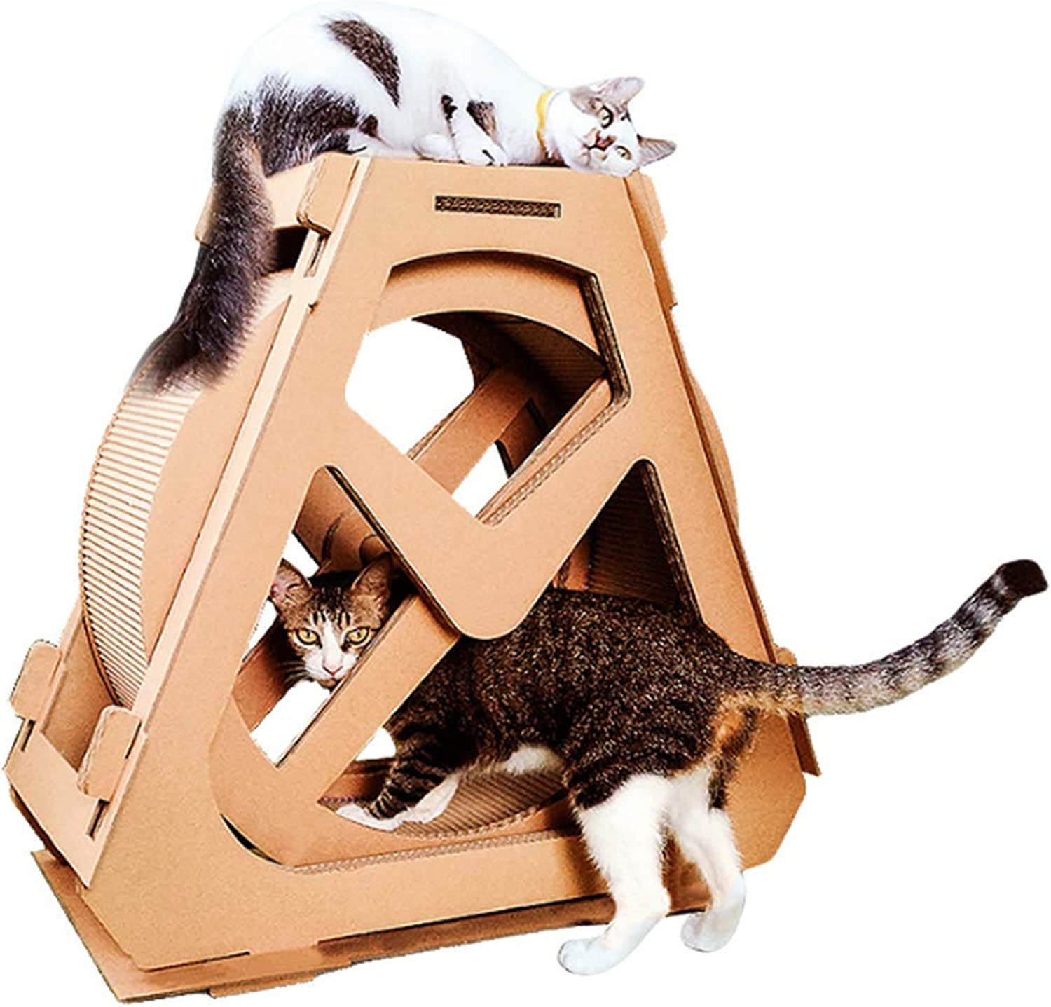 HEI SHOP Cat Scratch Board Cat Exercise Wheel Cat Tree Climbing House Running Spinning Toy For Cats, Cat Indoor Activity Center,Small
