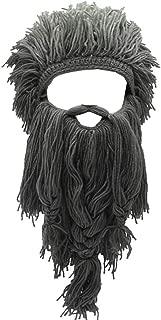 Barbarian Knit Long Beard Hat Adult Viking Fake Hair Wig Visor Knitted Wool Funny Skull Cap