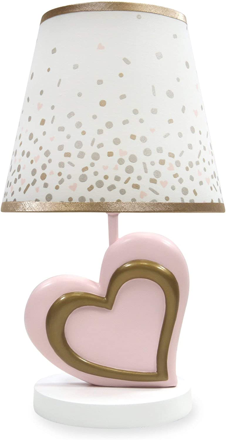 Lambs & Ivy Nursery Lamp with Shade & Bulb, Pink & Metallic gold Heart