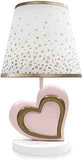 Lambs & Ivy Nursery Lamp with Shade & Bulb, Pink & Metallic Gold Heart
