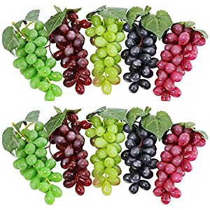 Supla Artificial Grapes Frosted Grape Clusters Rubber Grape in Black Purple Red Green for Vintage Wedding Favor Fruit Wine Décor Faux Fruit Props Home Table Decor Decoration (10, 6.3 inch (16cm))