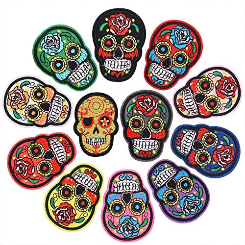 Focushop 12 Pcs Skull Iron On Patches Assorted Punk Style Skull Embroidery Sew On Appliques Ghost Head Motif Hot Melt Sticker for DIY Decoration Coats, Jeans, Jackets, Bags, Hats (Small Skull 12pcs)