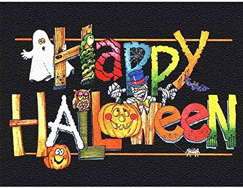 Happy Halloween 5D Diamond Painting by Number Art Kits - 16x12 inches Embroidery Kits for Adults Full Drill DIY Wall Art Craft by Nivvey