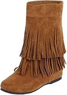 Women's Winter Boot Fashion Fringe Flat Bottom Wedges Booties Short Lined Suede Boots