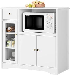 Buffet Cuisine, Meuble de Rangement pour Micro Onde, Buffet de Salle à Manger, en Bois, Blanc, 90 x 40 x 82 cm