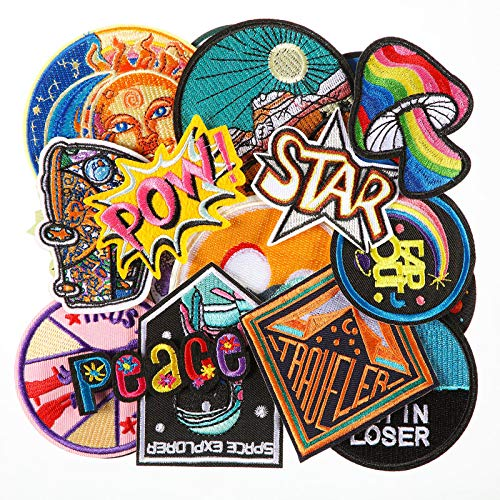 26 Pieces Iron on Appliques Hippie Retro Patches Space Planets Theme Patches Kit Embroidered Appliques Stickers Sew-on Decorative Repair Patches for Craft Backpacks Clothing DIY Decorations (Star)