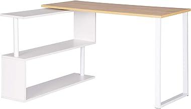 WOLTU TS65hei Table de Bureau en Aggloméré et Acier,Table de Travail PC Table d'ordinateur avec étagères 120x100x74cm,Chê
