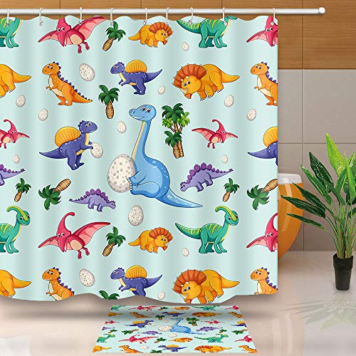 Cartoon Dinosaur Shower Curtain, Best Gift for Kids Bath Decor, Waterproof Polyester Fabric for Bathroom Curtains with Hook, No Liner Need, 72 X 72 Inches, LHNT220-72