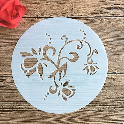LYR 6 Pulgadas Círculo Flores Molde DIY Patrón DIY Plantilla Hollow Stencils Pastel de Hornear Polvo de azúcar Tamiz Molde Graffiti