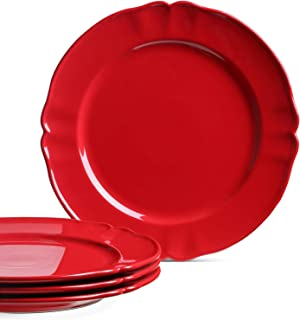 Le Tauci Dinner Plates set, 10.5 Inch Ceramic Plates, Set of 4, Red