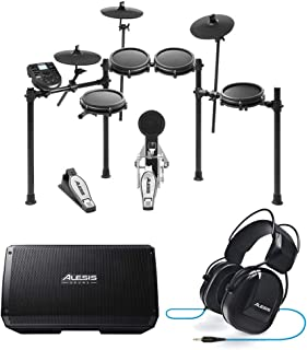 Alesis Nitro Mesh Eight Piece Electronic Drum Kit With Mesh Heads + Alesis Strike Amp 12 2000W Powered Drumming Speaker/Amplifier + DRP100 Electronic Drum Headphones - Top Bundle