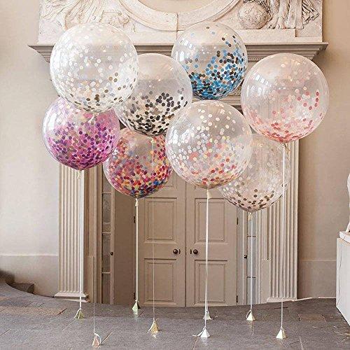 ECOSWAY Konfetti-Ballons, 5 Stück, 91,5 cm, große, transparente Latex-Ballons, Krepppapier, gefüllt mit Buntem Konfetti, perfekte Dekoration für Geburtstag, Party, Event, Feste, Weihnachten