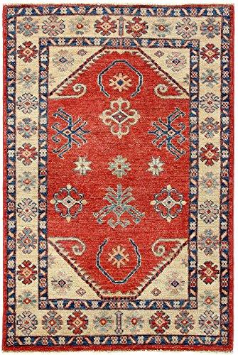 CarpetFine: Kazak Teppich 80x124 Rot - Handgeknüpft - Ornament