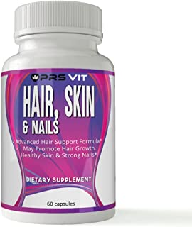 Hair Skin & Nail PRS VIT 60 caps | Vitamin B6, folic Acid, and Biotin to Help Strengthen Your Nails, Grow Healthier Hair, ...