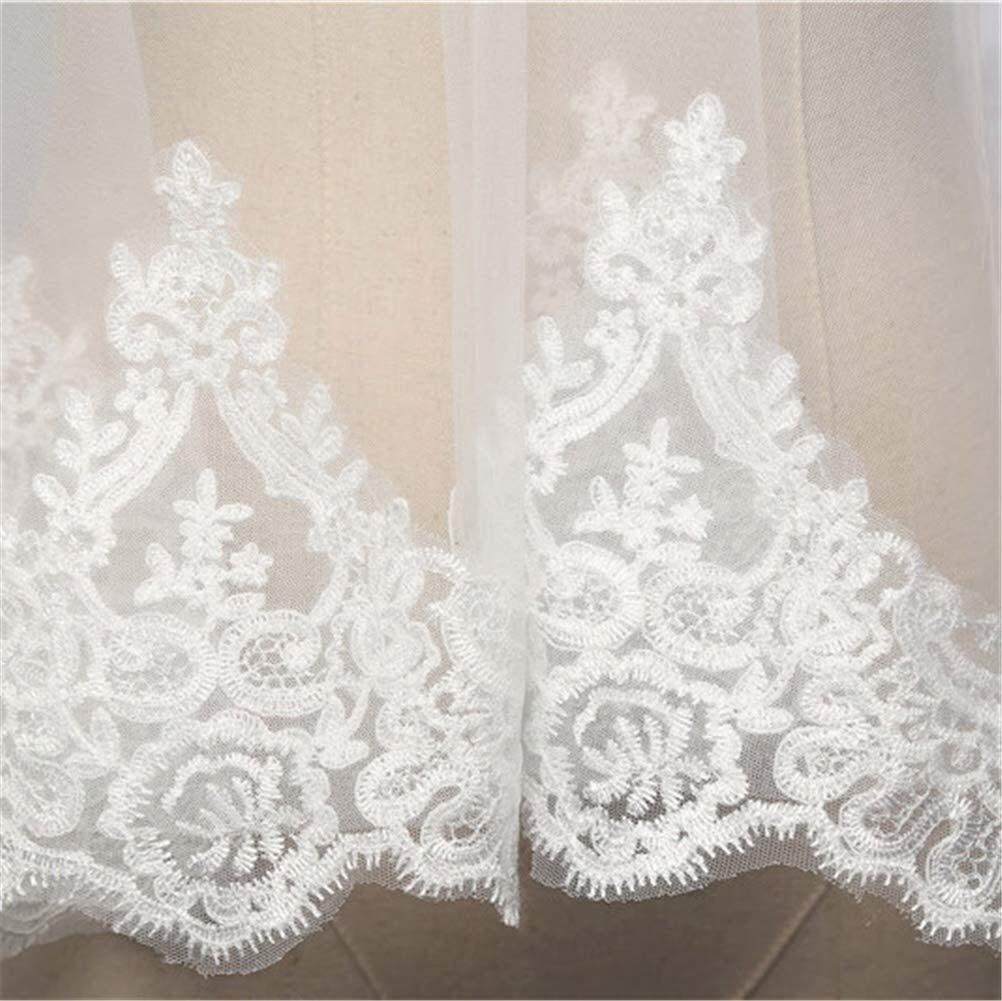 2T Bridal Veil Custom Made Bride Veil Lace Applique Edge Bridal Veils Two Layers Tulle Wedding Accessories with Free Comb 3.5M Long 829 (Color : Ivory, Size : 3.53M)