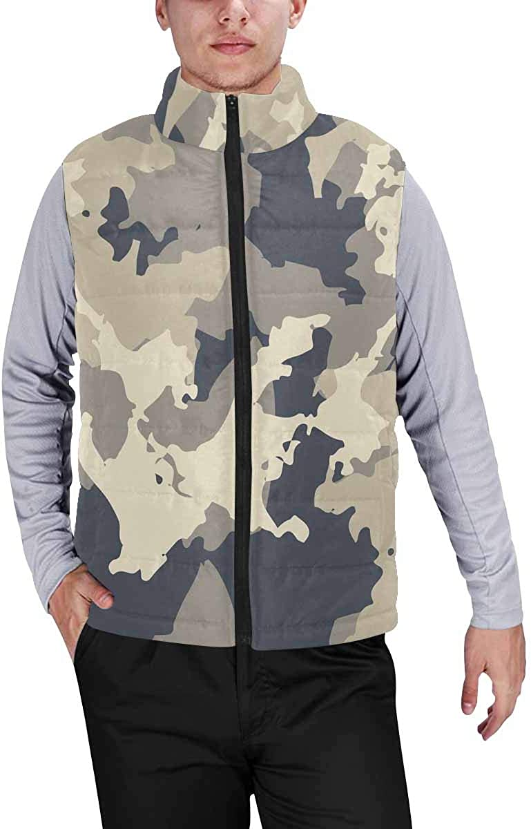 InterestPrint Men's Lightweight Outwear Vest for Hiking, Fishing Urban Camouflage of Various Shades of Beige and Navy XS