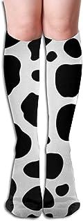 Calcetines de compresión abstractos repetidos de punto negro blanco de vaca Calcetines altos de rodilla para adultos Calcetines de gimnasio al aire libre 50 cm 19.7 pulgadas