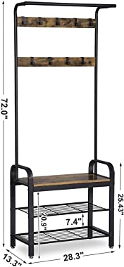 VASAGLE Coat Rack, Hall Tree with Shoe Bench for Entryway, Industrial Accent Furniture with Steel Frame, 3-in-1 Design, Easy