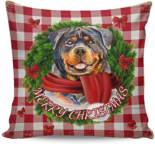 GYYbling Throw Pillow Covers 20' x 20', Merry Christmas Red and White Buffalo Check Plaid Rottweiler Decorative Pillowcases Square Cushion Cover for Home Decor