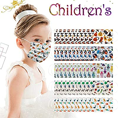 Children Lovely Face Mask 50PC Disposable Cute Masks Pumpkin Spider Dinosaur Space Robot Prints Mixed Pack 3 Ply Ear Loop Elastic Nylon Face Masks for Kids Back to School