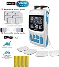 ROOVJOY TENS Unit + EMS Muscle Stimulator + Pulse Massager 3-in-1 Combination,Muscle Stimulator Pain Reliever for Muscle Stiffness,Pains,Official Store of Similar Products,with 12 Reusable Pads