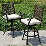 PHI VILLA Extra Wide Outdoor Patio Pub Height Swivel Bar Stools Cast Aluminum Arms Chairs Set of 2...