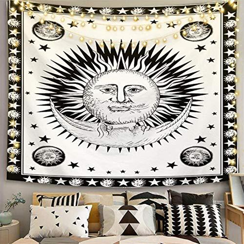 xinmeng Astrologie Hexerei Weiße Schwarze Sonnenmond-Tapisserie-Wand (Color : Color 17, Size : 180x230cm)