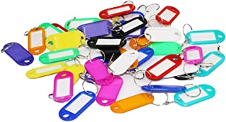 Plastic Key ID Tags Multi-Colors Key Ring Fob ID Tags Luggage ID Tags Labels with Split Ring Keyring Name Cards for Keychain Pet Bag (Random Color)