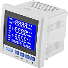 3-Phase AC Electric Voltage Meter, Multifunction Digital LCD Panel Meter, Current Voltage Frequency Power Energy Meter V A Hz kWh RS485, White