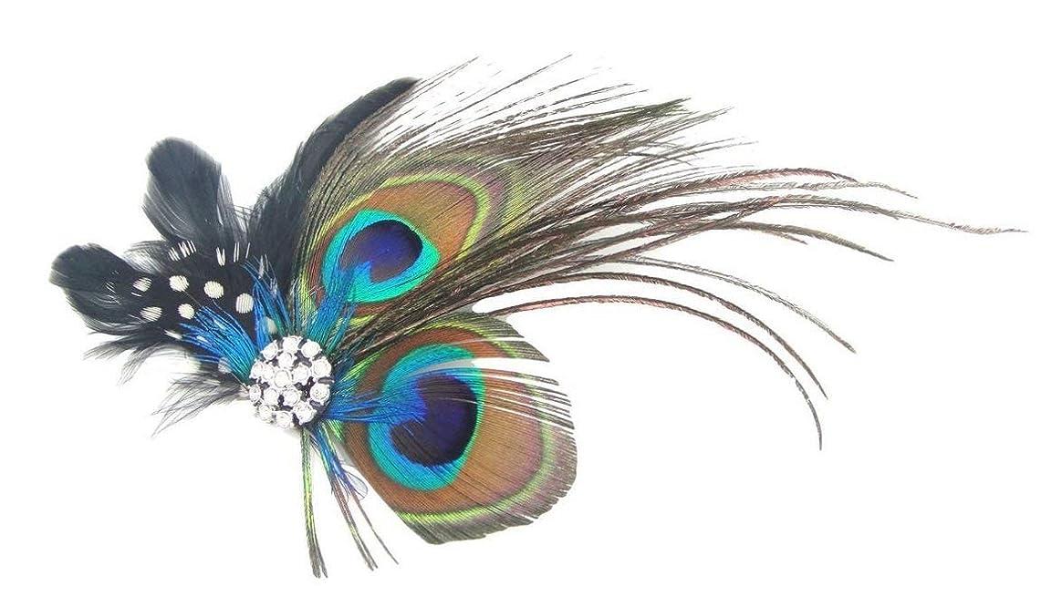 リング刈り取る作りますLUOSAI ファッション孔雀の羽ヘアクリップヘアピンラインストーンヘッドバンドカクテルパーティー用女の子女性ユニークで便利な