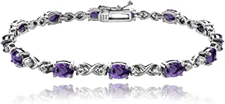 Sterling Silver Genuine, Created or Simulated Gemstone 6x4mm Oval Infinity Bracelet with White Topaz Accents