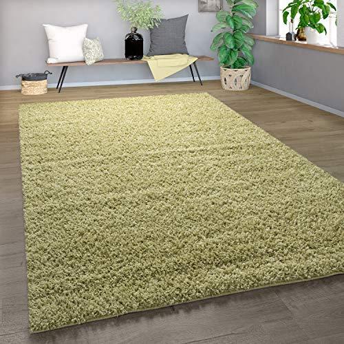 Paco Home Shaggy Tapis Poils Hauts Poils Longs Haute Qualité Haut Densité De Fil Uni Olive Vert, Dimension:120x170 cm