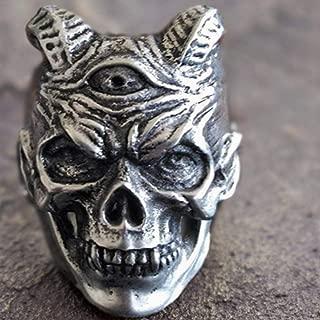 WGY Pest Teufel Schädel Ringe Mens Three Eyed Demon Edelstahl Ring Punk Rock Biker Schmuck