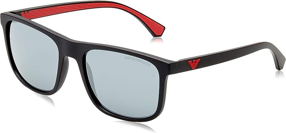Emporio armani, occhiali da sole, nero e grigio, unisex EA 4129