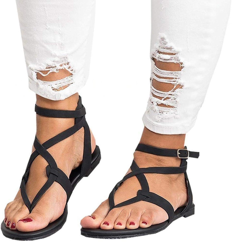 Lantusi Women Casual Flat Sandals Flat Summer Beach shoes Sandals