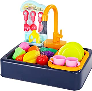 Coxeer Kids Kitchen Sink Toys Playset Electric Dishwasher Playing Toy Creative Pretend Play Toy Automatic Water Cycle Best Toy Gift