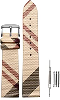 Finjin R 16mm/18mm/20mm Unisex Calfskin Leather Watch Band Genuine Replacement for Burberry Watch Band