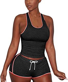 Women's Two Piece Outfits Summer Solid Bodycon Shorts Pant Set Tracksuit Sports Shirt Shorts Jogger Sportswear Set Activewear