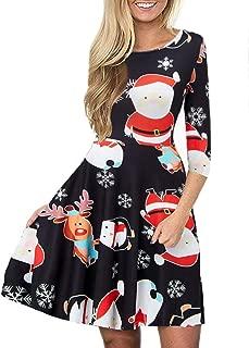 Idgreatim Women's Ugly Christmas Dress Casual 3/4 Sleeve Xmas Gift Swing Party Dress