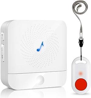 介護呼び鈴 ワイヤレスチャイム 呼び鈴 介護 PHYSEN SOS緊急コールセット ポケットベル 無線コールボタン 警報 呼び出しペル ナースコール 5段階音量調節 最大100M無線範囲 (1T1)