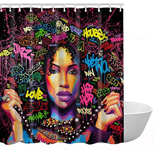 KXMDXA African American Woman Pretty Girl Shower Curtain Polyester Fabric Shower Curtain Size 60