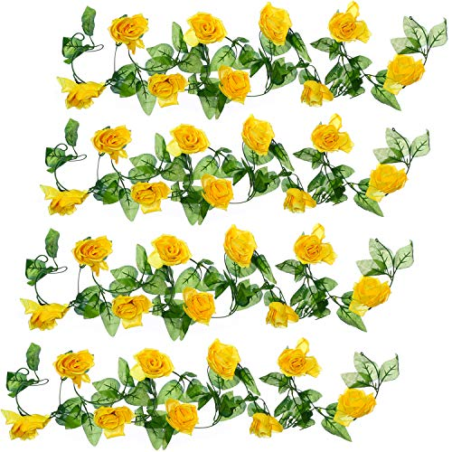 Well Love Artificial Flower Rose Vine Garland 8FT/Piece for Home Kitchen Wedding Party Garden Festival Office Outdoor Hanging Arch DIY Craft Art Decor Canary Yellow Gift Set