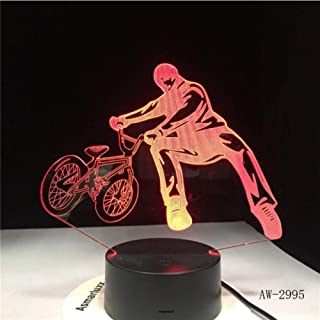 Zonxn Night Light BMX Trickster Table Lamp Bedside Decor Bicycle Limit Movement Night Light Led 7 Colors Change Sleeping Lighting 3D Gifts Aw-2995