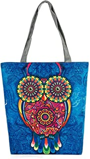 Bolsa De Playa, Animal BúHo Impreso Bolsas De Hombro De Lona Mujer Grande Bolso De Mano Shopper Bolsa Bolsa De Verano Bolsa Para Viajar Crossbody Bag